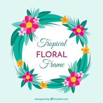 Flat floral frame with tropical style