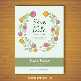 Flat floral wedding card with circular design