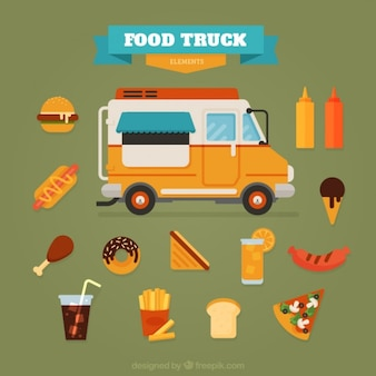 Flat food truck with delicious foodstuffs