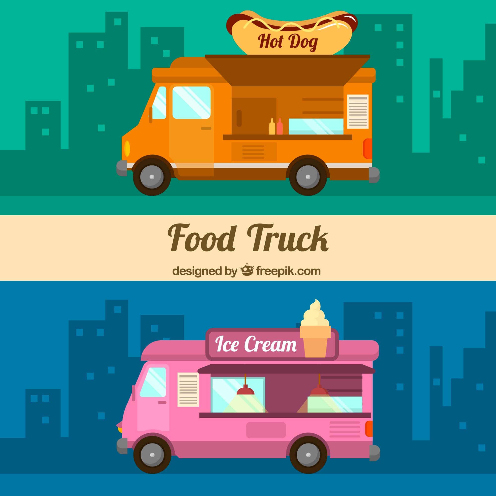 Flat food trucks with hot dogs and ice creams