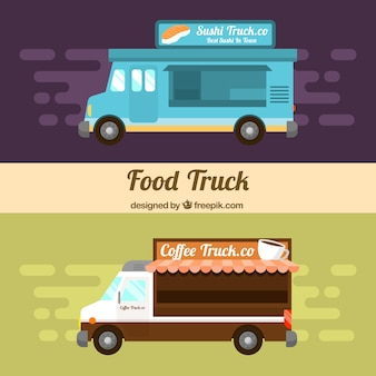 Flat food trucks with sushi and coffee