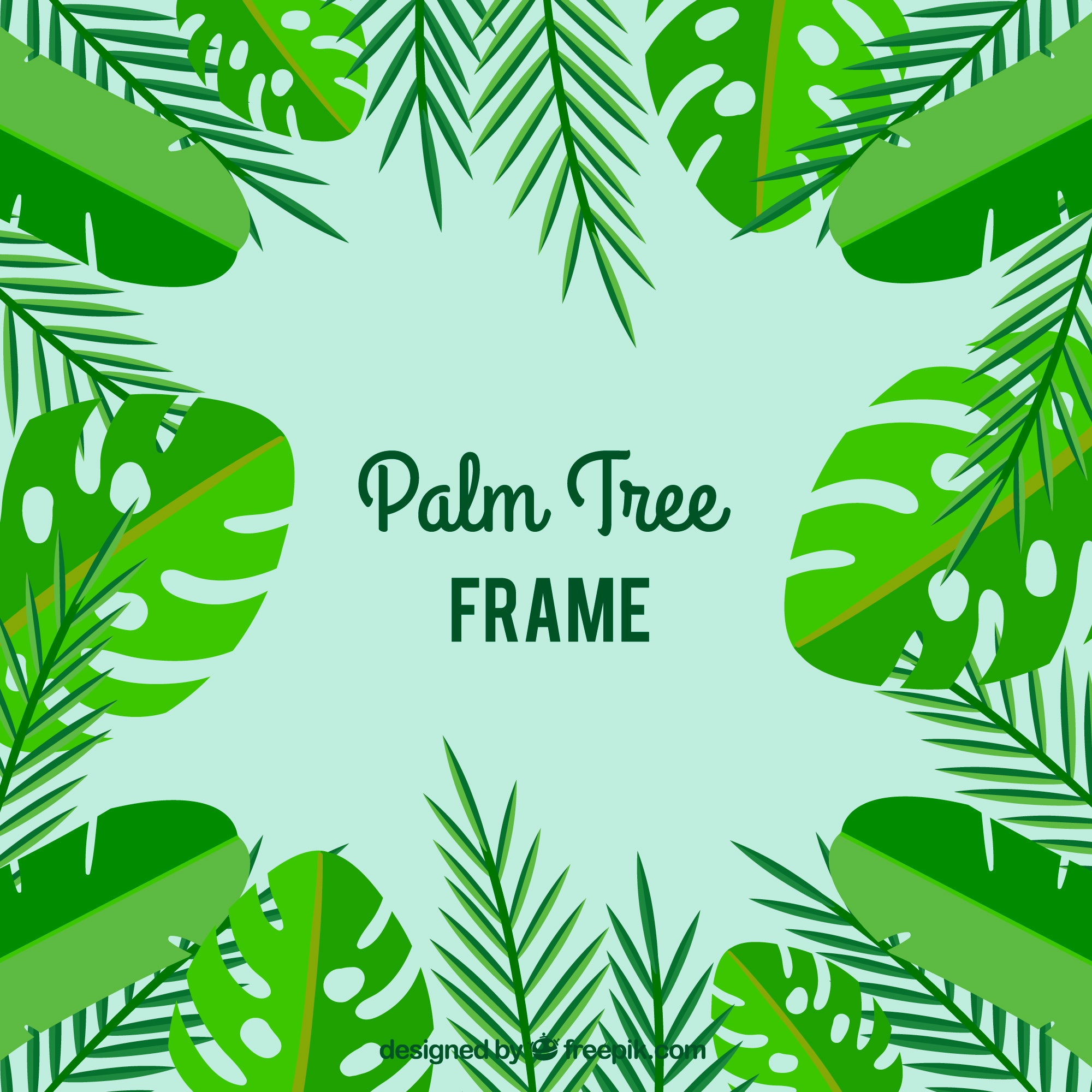 Flat frame of decorative palm leaves