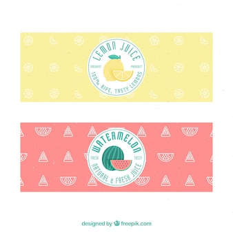 Flat fruit juice banners
