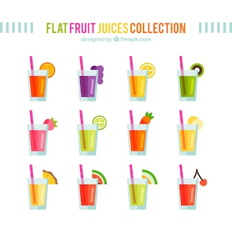 Flat fruit juices collection