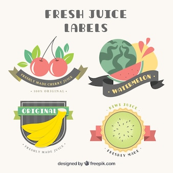 Flat fruits labels with ribbons