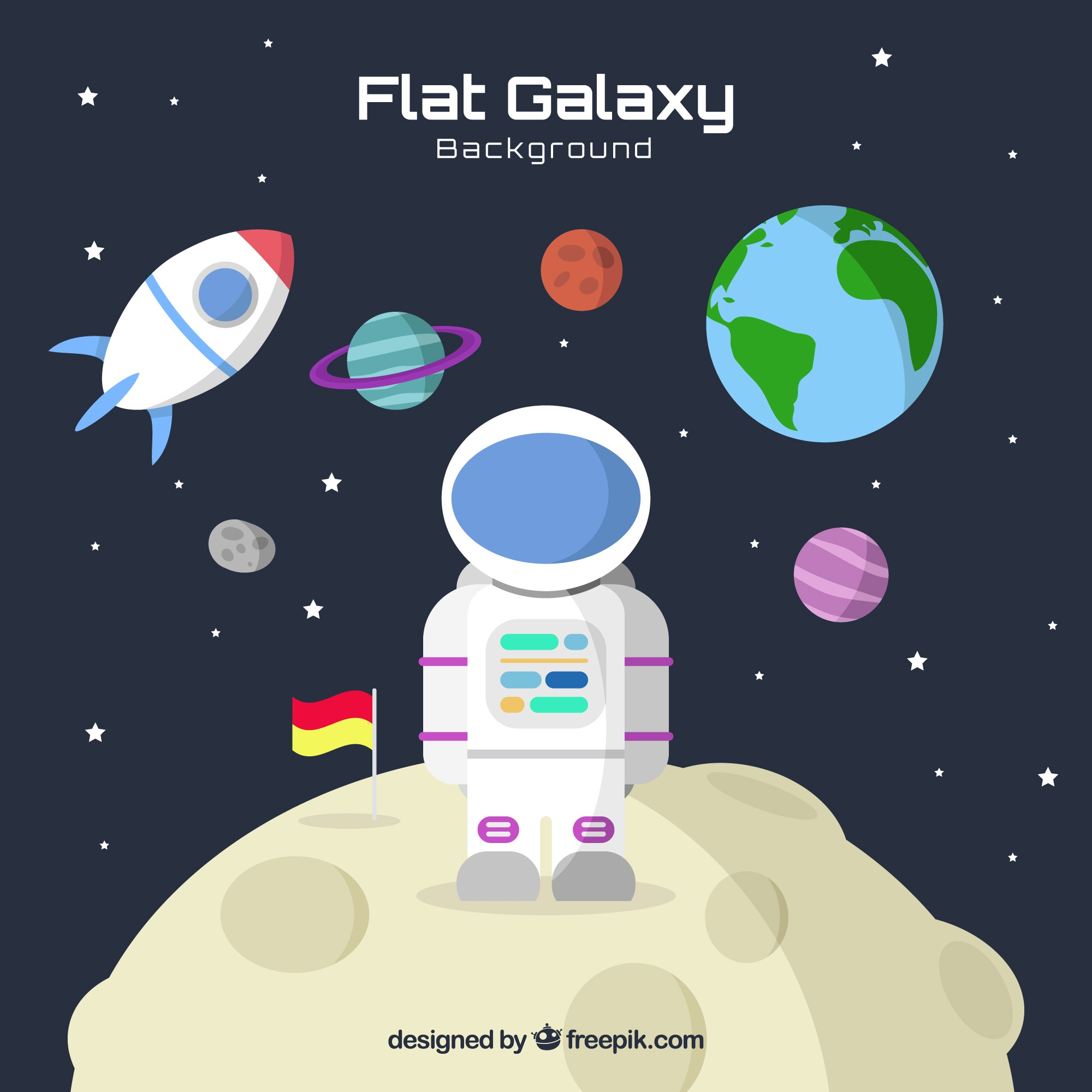 Flat galaxy background with astronaut