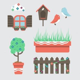 Flat garden elements Set