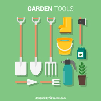 Flat garden tools with elements