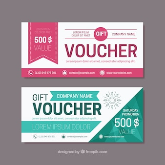 Flat gift vouchers with color details