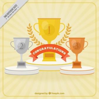 Flat golden trophies