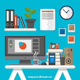 Flat graphic designer workplace