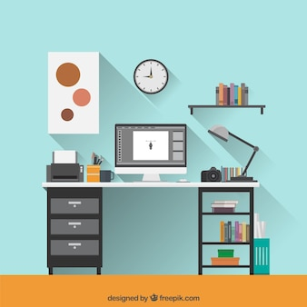 Flat graphic designer workspace