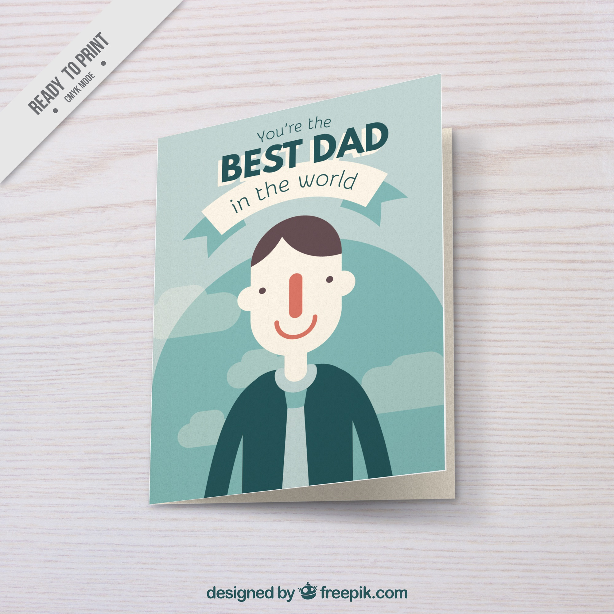 Flat greeting card for father's day