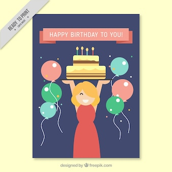 Flat greeting card with balloons and smiling woman