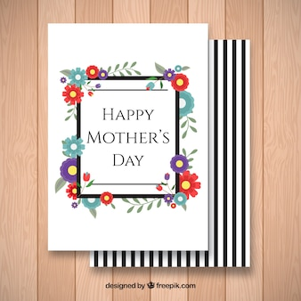 Flat greeting card with colored flowers for mother's day