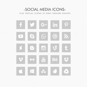 Flat grey social network icons