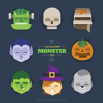 Flat halloween monster collection
