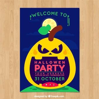 Flat halloween poster with pumpkin