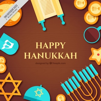 Flat hanukkah background with different items