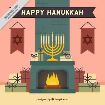 Flat hanukkah background with gifts and fireplace