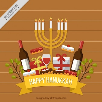 Flat hanukkah background with wine bottles and candelabra