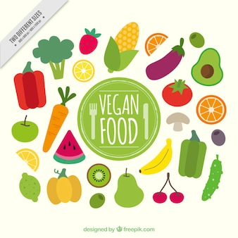 Flat healthy vegan food background