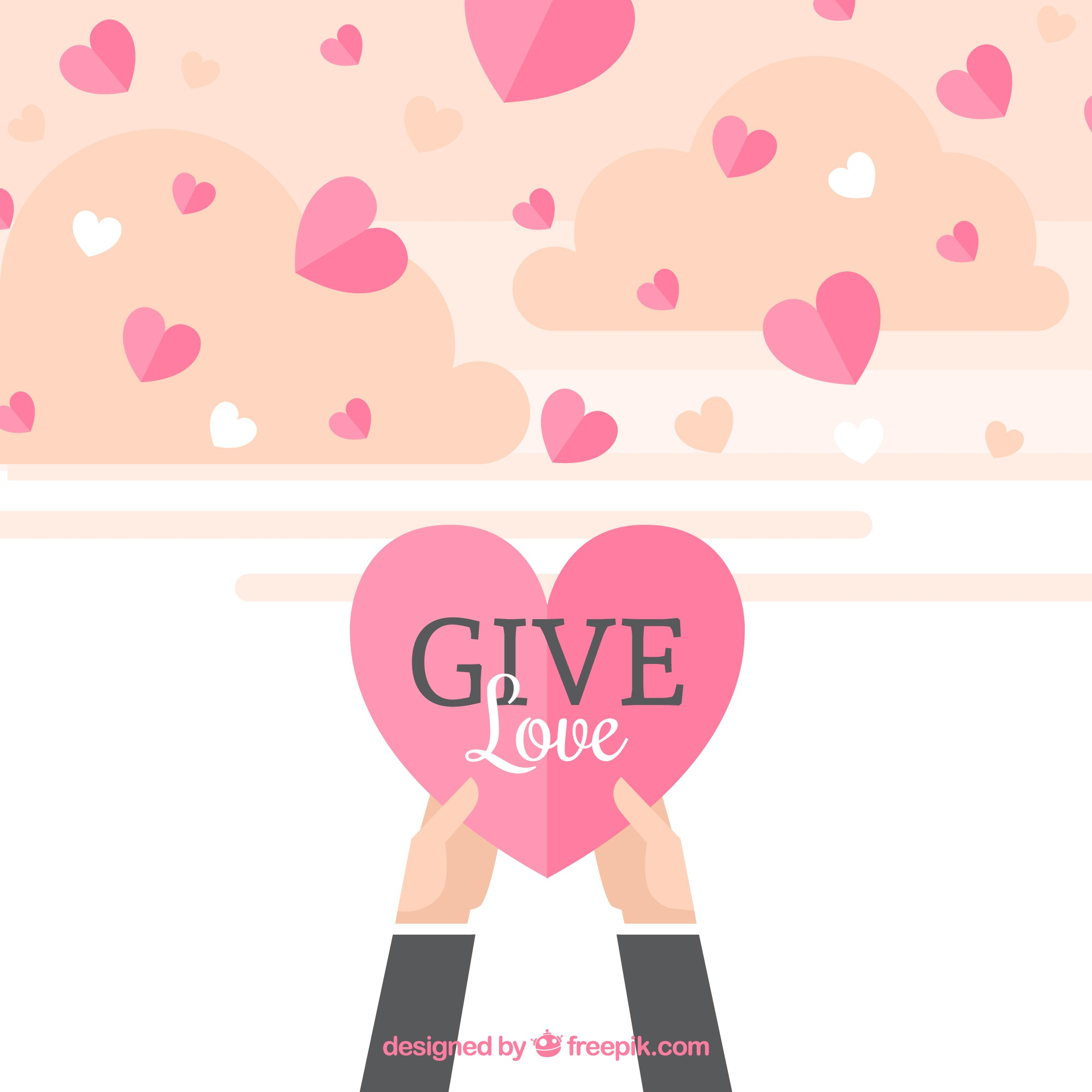 Flat hearts background with love message