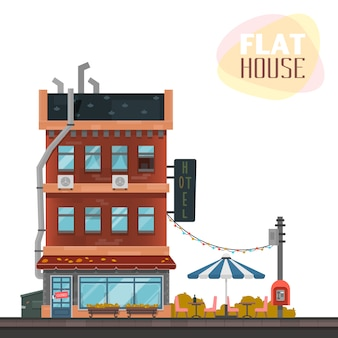 Flat house design with hotel