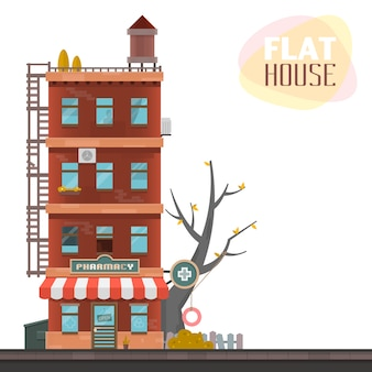 Flat house design with pharmacy