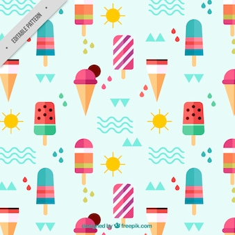 Flat ice-creams and summer elements pattern