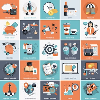 Flat icon set for business