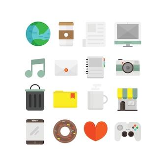Плоские значки для дизайна пользовательского интерфейса