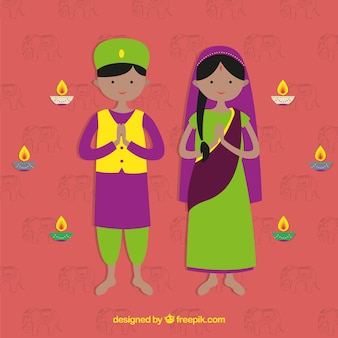 Flat indian couple