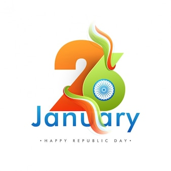 Flat indian republic day background with wavy flag