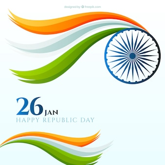 波状形状のフラットインド共和国の日の背景