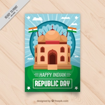 Flat indian republic day card with flags and monument