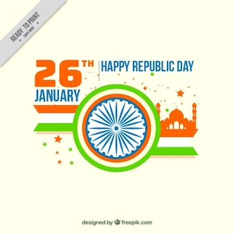 Flat indian republic day greeting card