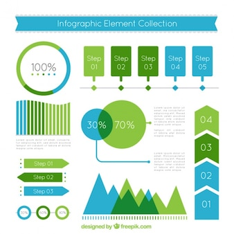Flat infographic elements in blue and green tones