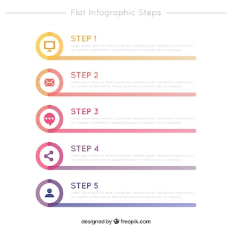 Flat infographic steps template with icons