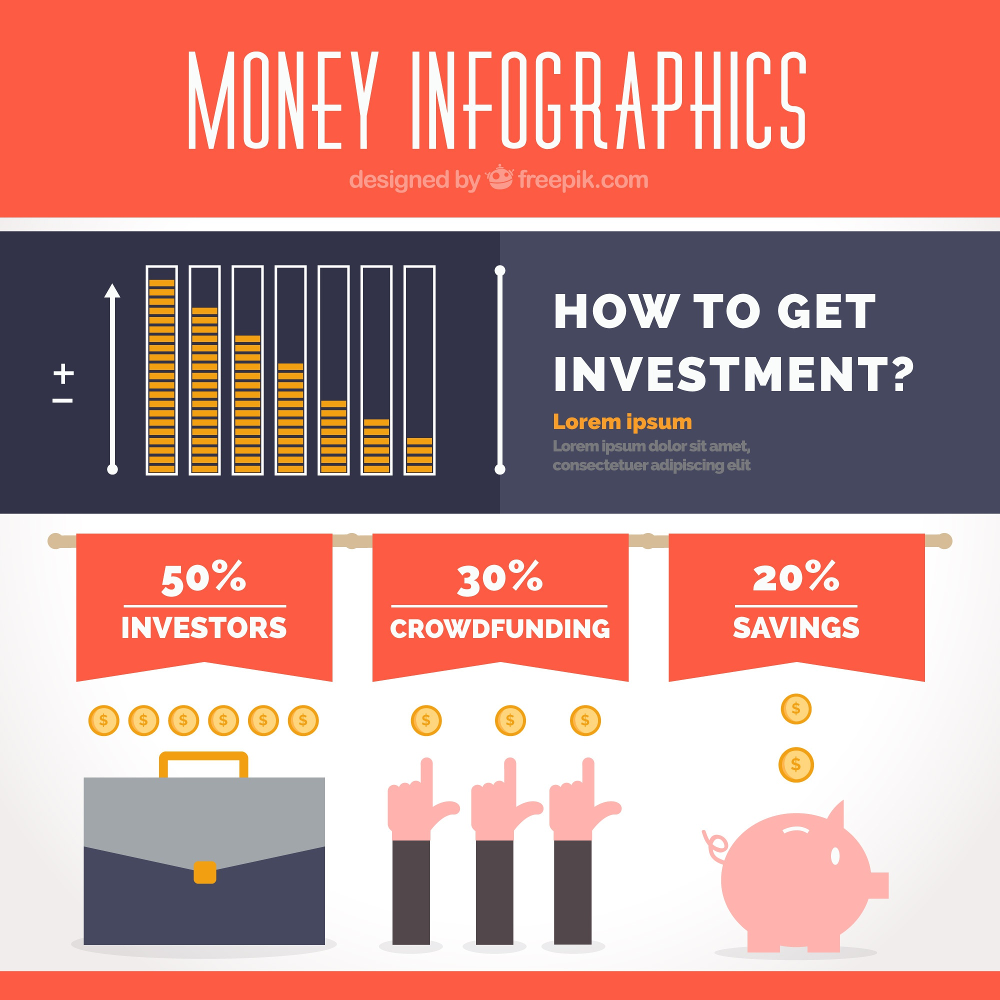 Flat infographic template about investments