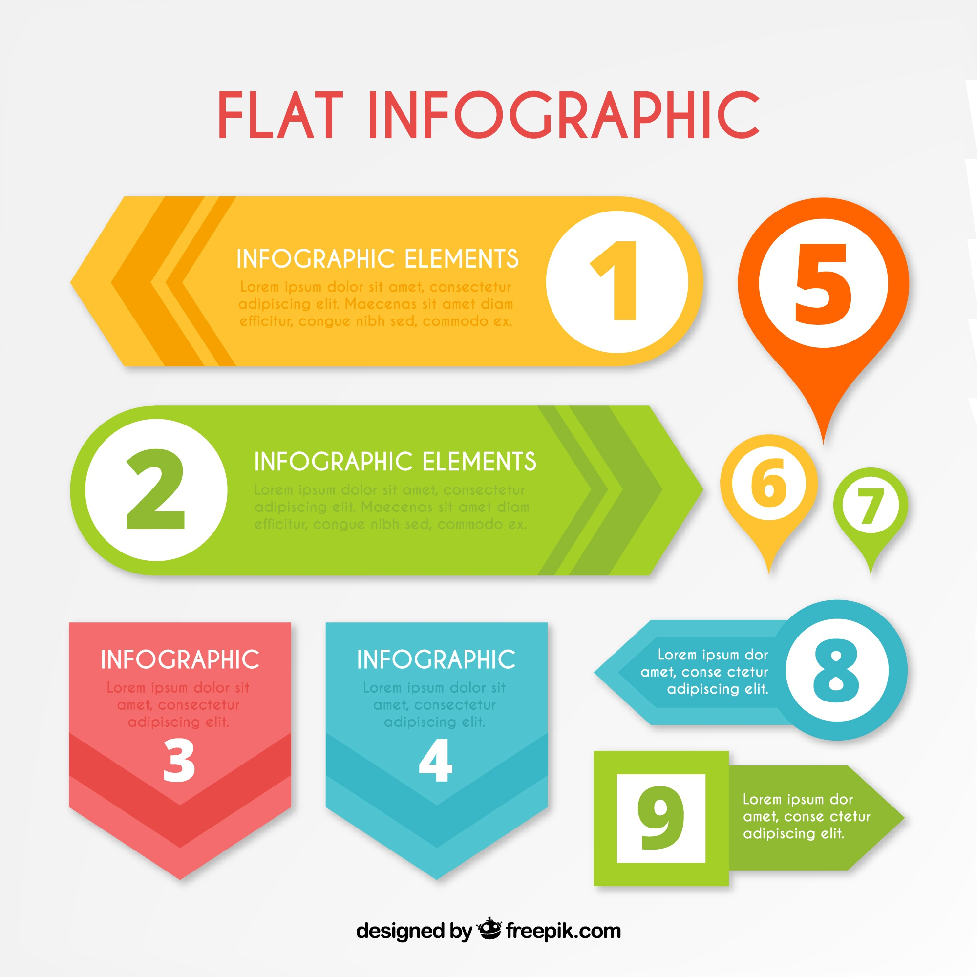 Flat infographic with nine elements