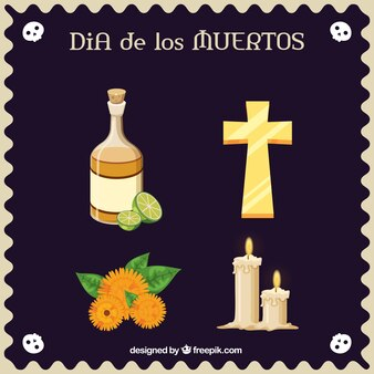 Flat items to celebrate the day of the dead