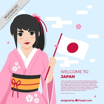 Flat japanese background with smiling woman