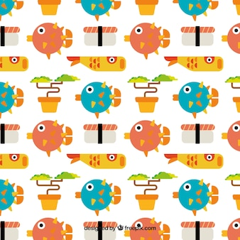 Flat japanese fishes and sushi pattern