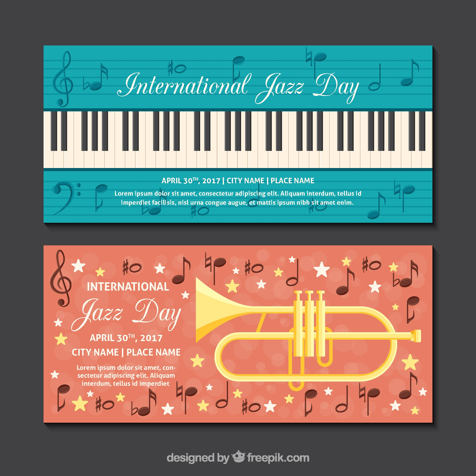 Flat jazz banners with musical instruments