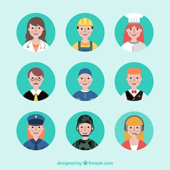 Flat job avatars with cute style