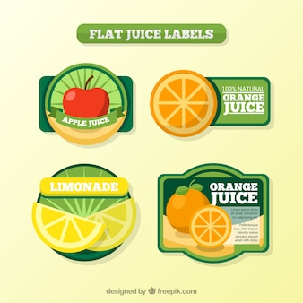 Flat juice labels set