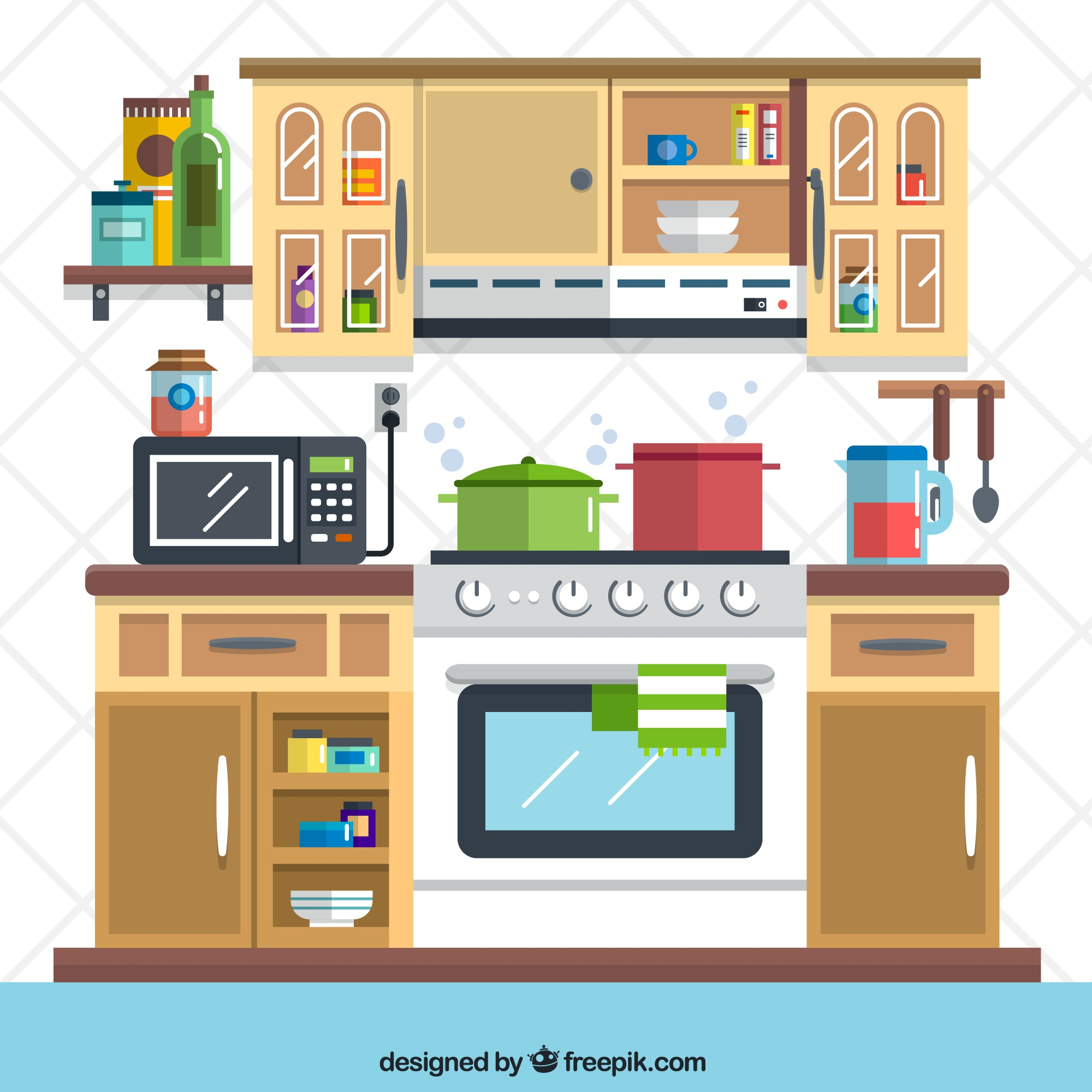 Flat kitchen illustration