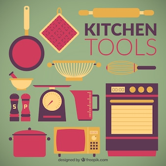 Flat Kitchen Tools Collection