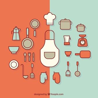 Flat kitchen utensils